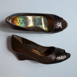 New York Transit Women's Wedge Heel Shoes Open Toe